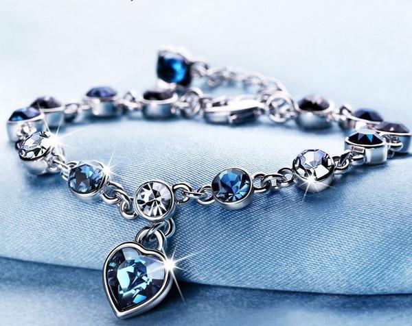 2015 new!!! 16 colors European and American style Jewelry Crystal Bracelet Charm Bracelets 25cm length crystal bracelets