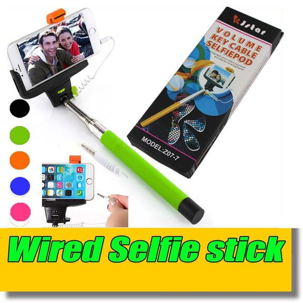 DHL 100 Teile / los 5 Farbe Kleinkasten Handheld Kabel Monopod Z07-7 Erweiterbar Selfie Wired Stick Stativ Pole Für iphone ios Android