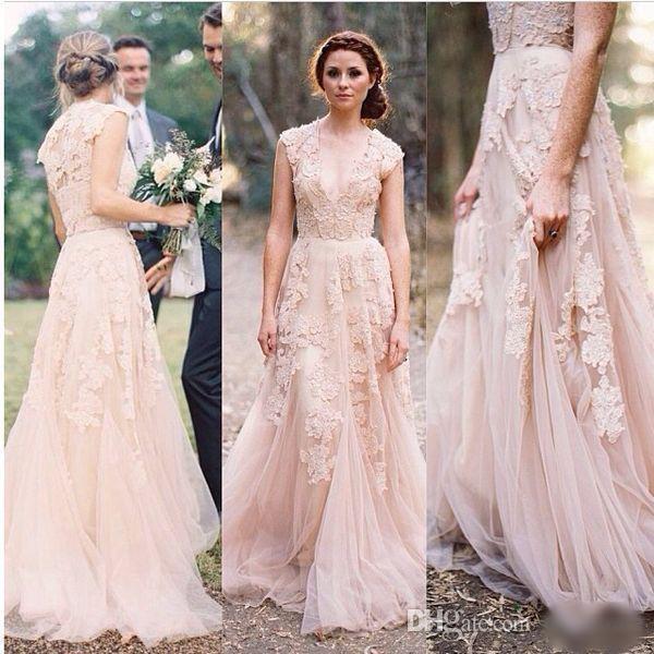 2017 Blush Vintage Full Lace Wedding Dresses Plunging V-neck Ruffles Bridal Gown Cap Sleeves Reem Acra Vestio De Maraiage Bridal Gowns