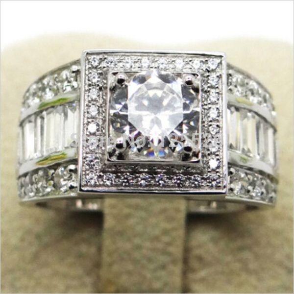 001 Victoria Wieck Sz 7-13 Asil Mücevher Erkekler Topaz Simüle elmas 10KT Beyaz Altın Dolgulu Düğün Band Yüzük Hediye ücretsiz kargo