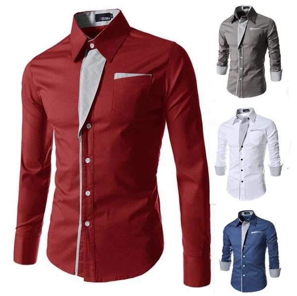 Heißer Verkauf Art und Weisehemd-Männer Langhülse Hemd Hemd-Sporthemdkleidung der dünnen Tendenzmänner beiläufige Kleidung 7 Farben M-3XL geben Verschiffen frei