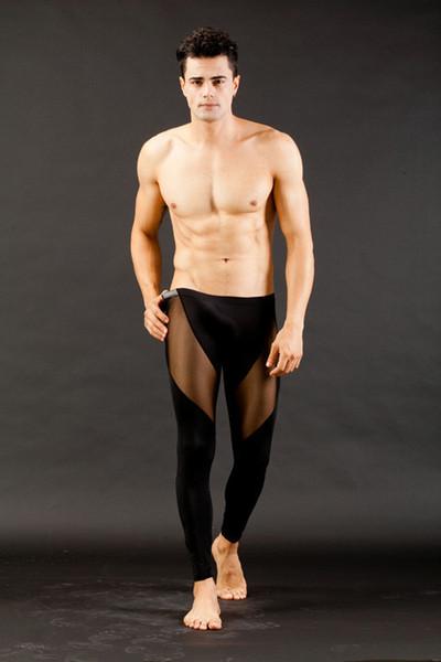 Toptan-Yeni Sıcak Seksi erkek Uzun Termal Iç Çamaşırı Pantolon Pantolon Mesh Mens Erkekler Şeffaf Dipleri Düşük Rise Tayt See Through S M L