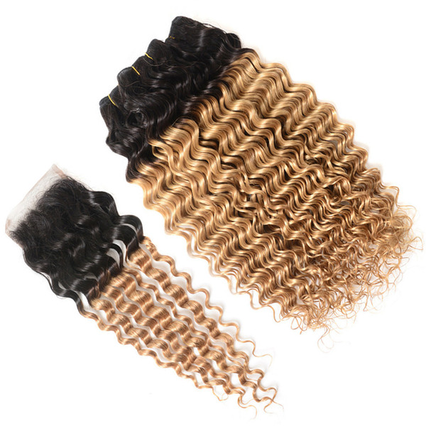 Two Tone 1B/27 Honey Blonde Ombre Hair Bundles with Closure Deep Wave Curly Strawberry Blonde Ombre Human Hair Weaves with Top Closure