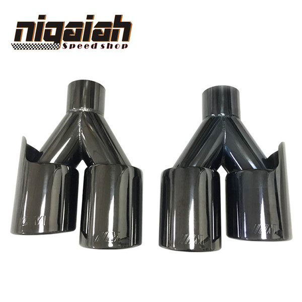 2PCS TOP quality Car tail pipe 304 Stainless M tip Universal Black Exhaust End Tips for BMW