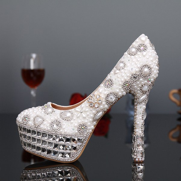 Großhandel 2018 Damen Pumps Perlen Brautschuhe Elegante