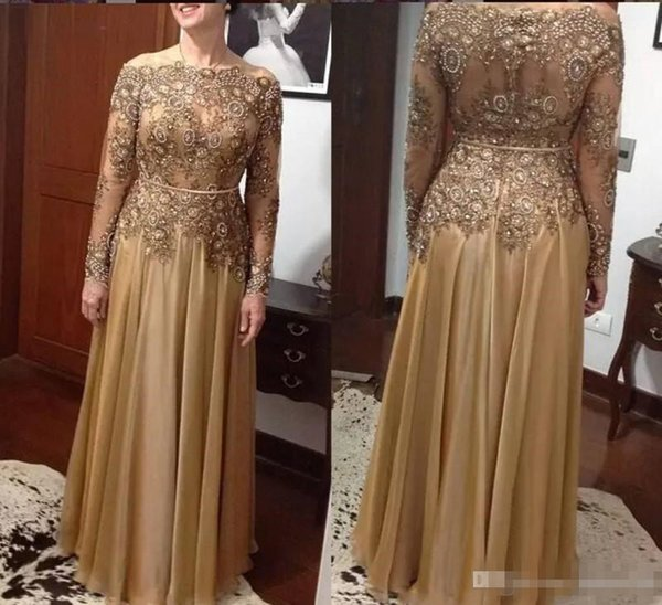 Elegant Gold Long Sleeve Mother Of The Bride Dresses Off The Shoulder Lace Appliques Beaded Mothers Outfit Plus Size Formal Evening Gowns