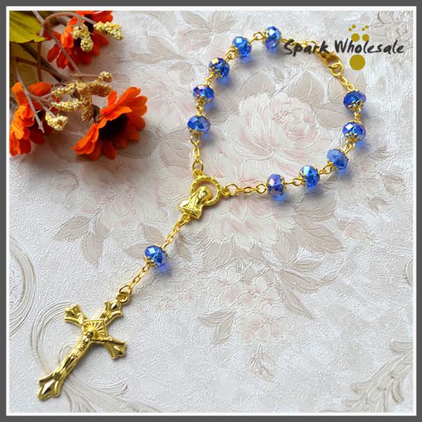 Großhandel 25 Teile Los Katholischen Rosenkranz Armband Gold Capped Blau Glasperlen Religiöse Jungfrau Maria Jesus Kreuz Taufe Begünstigt Dekade