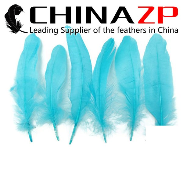 Newest plumage CHINAZP Crafts Factory 100% Exporting Length 10~15cm(4~6inch) Best Quality DIY Dyed Blue Goose Wing Loose Feathers