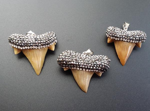 1pcs Unique natural shark tooth Paved crystal rhinestones elegant shark tooth pendant for DIY jewelry making SA-7