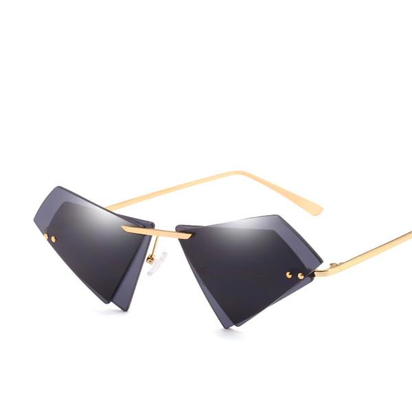 New Arrival Fashion Uv400 Protection PC Double Lens Irregular Shape Cat Eye Sunglasses Women 6colour with Box