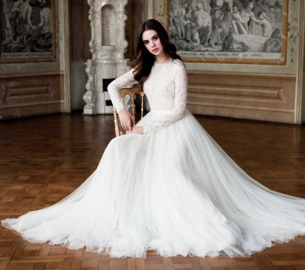 Modest High Neck Lace Long Sleeves Muslim Wedding Dresses 2015 Dubai Tulle Sweep Train Islamic Wedding Gowns Plus Size Arabic Bridal Dress