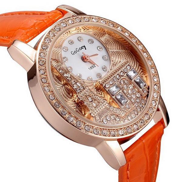 Los relojes del rhinestone de las mujeres de Gogoey de la marca de fábrica El cristal de lujo el reloj de la manera de las señoras de las mujeres del reloj de la torre Eiffel Cuarzo Relojes de pulsera
