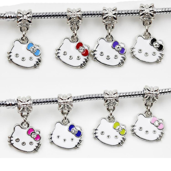 mixed colors Big Hole Loose space Beads mini cat charms pendants For Pandora DIY Jewelry Bracelet women jewelry wholesales freeshipping