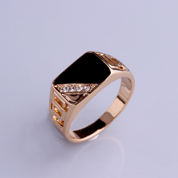 Brand New Classic Silver/Gold-color Rhinestone Men Ring Black Enamel Male Finger Rings triangle drip ring fast free shipping