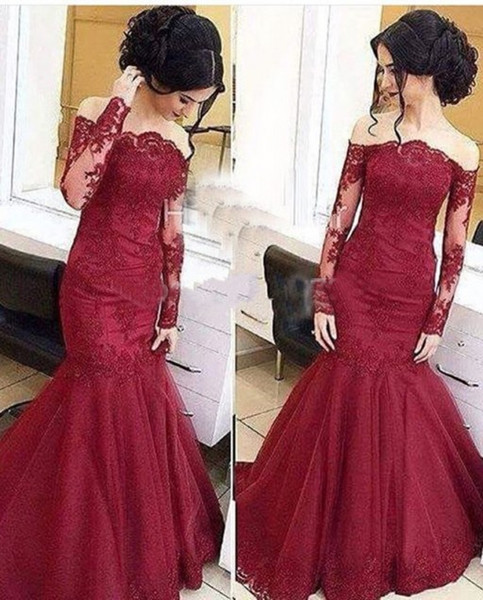 Vintage Mermaid Prom Dresses Off The Shoulder Organza Lace Sheer Long sleeve Formal Evening Dress Party 2018 Fishtail Floral Garden Holiday