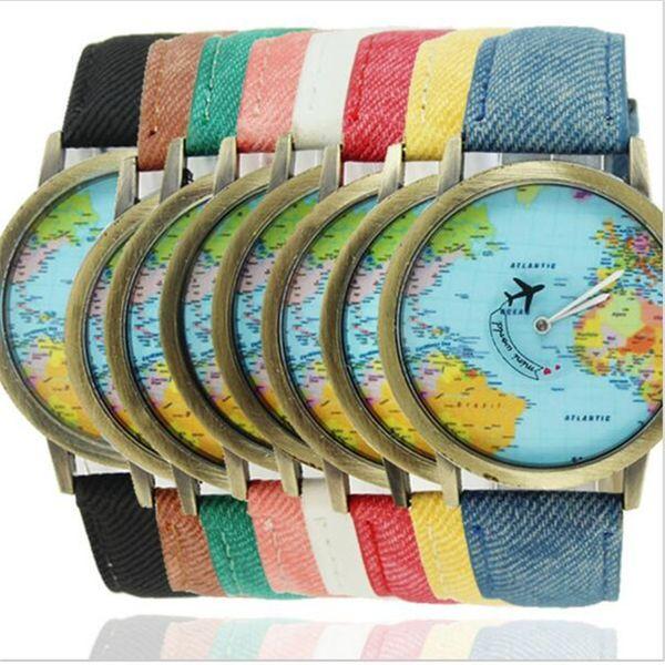 Lüks Dünya Haritası Izle Düzlem Iğne Denim Kumaş Kayış Kuvars Saatı Erkekler Kadınlar Unisex Casual İzle Öğrenciler Christms Hediye Saatler