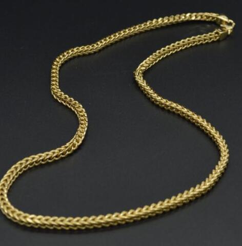 NEW MEN 925 STERLING SILVER Filled 6MM FRANCO CHAIN NECKLACE 14K Gold Filled Finish 24''