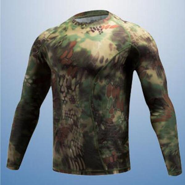 Yeni Doğa Sporları Elastik Uzun kollu Tişört Biyonik Kamuflaj Av Tişört Erkek Kamp Giyim Spor tişörtler giyin Hızlı kurutma