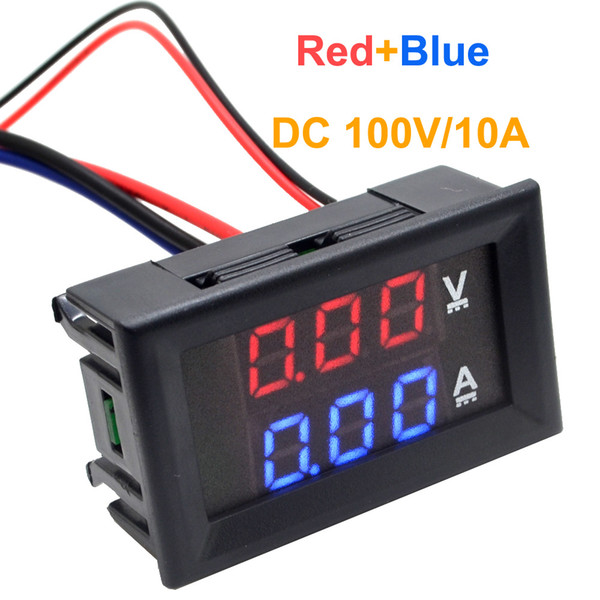 Freeshipping 5pcs/lot LED DC 0-100V 10A Dual display Meter Digital Voltmeter Ammeters Panel Amp Volt Gauge Free Shipping10000840