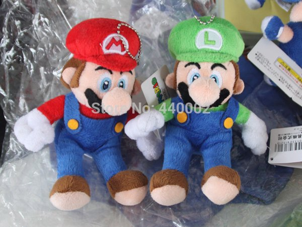 Wholesale-Super mario Toy 4.5 '' mario luigi Plush Key chain Doll 2 styles Free Shipping 10/LOT