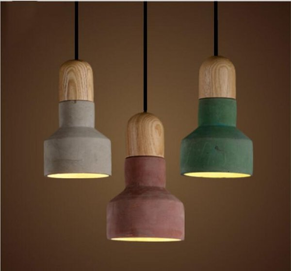 New Arrivals Japanese Style Cement Pendant Light With 3 Color Lampshade Warm Loft Vintage American Countryside Pendant Lamps