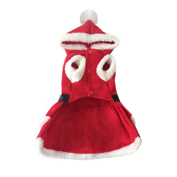 Pet Christmas Coat Dog Cat Santa Claus Suit Xmas Skirts Dog Coat Dog Costumes Two legs