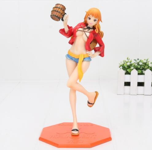 22cm One Piece P.O.P Nami Dressed in Luffy Outfit with Casks Girl PVC Action Figure Resin Model Toy Gifts Cosplay Figure