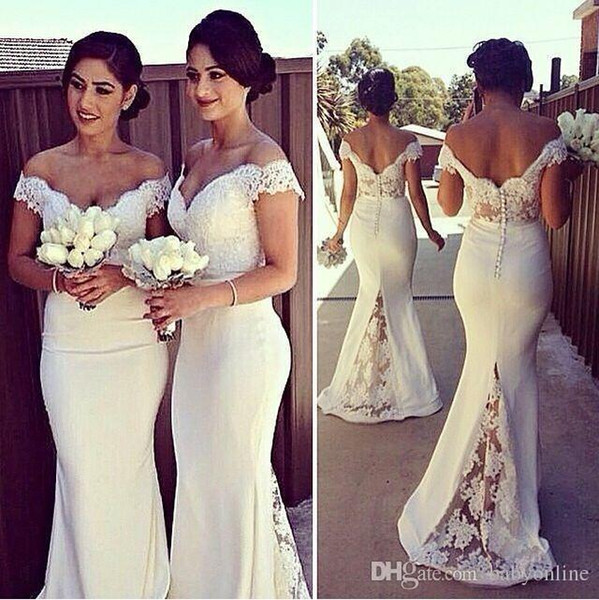 2019 Cheap Long Formal Dresses for Women Lace Off Shoulder Mermaid Sweep Train Bridesmaid Dresses Covered Button Back