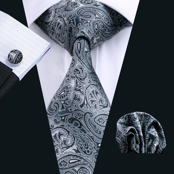 Paisley negro para hombre corbata de lazo de seda Clips de Hanky conjunto de puños Jacquard tejida negocio de accesorios de moda Corbata Set Formal N-0209