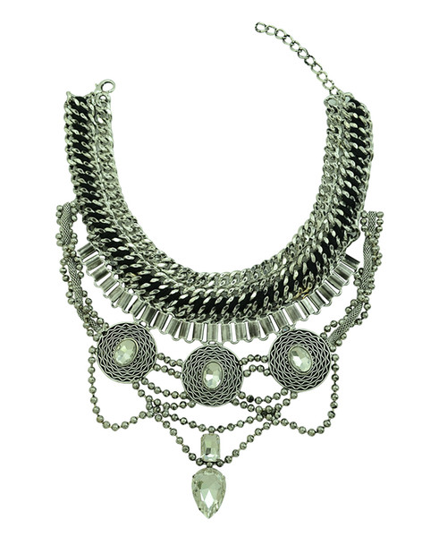 European Style Wide Chain Carving Coin Beads Snake Chain Crystal Ethnic Statement Necklace Costume Jewelry