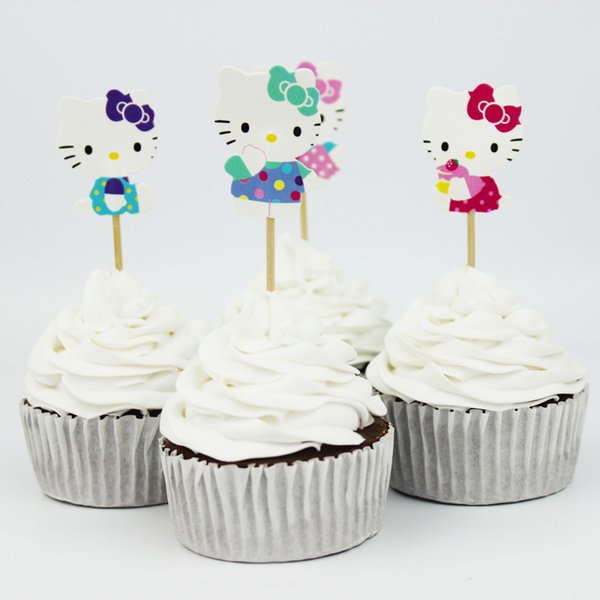 New Arrival Cute Hello Kitty Cake Decorating Tools Fruits Cupcake Inserted Card Stands For Birthday And Xmas Decoration Supplies Modo De Fazer Cupcake