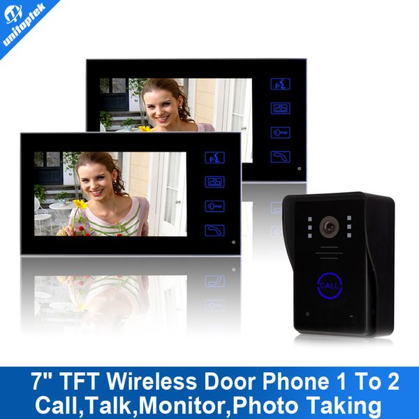 "7"" TFT 2.4G Wireless Video Door Phone 2 monitors system Intercom camera with recorder Doorbell Home Security Camera Monitor"