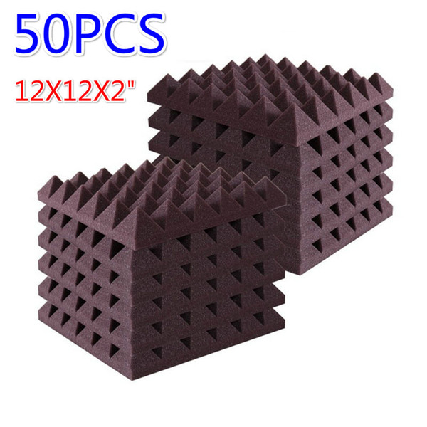 """best selling (50 Pack) Pyramid soundproof foam Recording Studio Acoustic Treatments Noisecontrol Sound Insulation Wall Panel 12X12X2"""""""