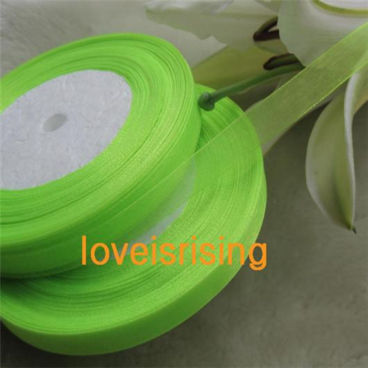 100 Yards (300 ft) 3/8'' (10mm) Double Face Apple Green/Black/Aqua Blue Color Sheer Organza Ribbon Wedding Party Favor Decoration Craft