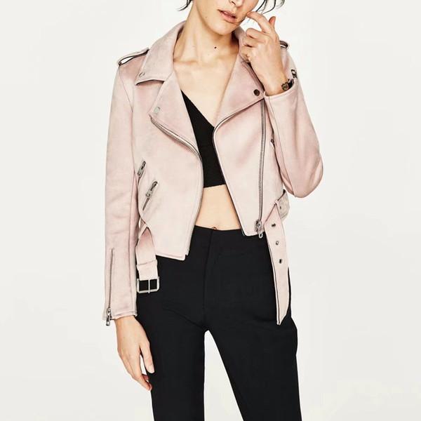 Wholesale- New Autumn Witner Women Motorcycle Faux PU Leather Pink Blue Beige Jackets Lady Biker Outerwear Coat with Belt Hot Sale 6 Color