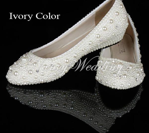 Fildişi İnci diamonds 1 Inç kama topuklar parti ayakkabı gelin düğün ayakkabı Rahat Alt Topuk Parti Balo Dans Ayakkabıları
