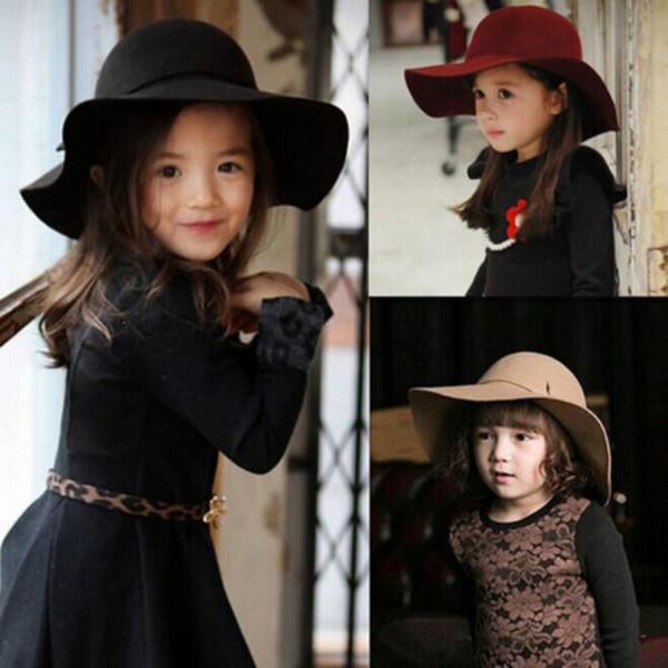 Cute Summer Girl Wool Felt Hats Childrens Vintage Wide Brim Beach Caps Kids Sun Hats free shipping