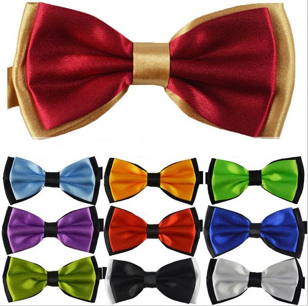 best selling 2017 New Fashion Solid color double-layer New Novelty Men's Unique Tuxedo Bowtie Bow Tie Necktie