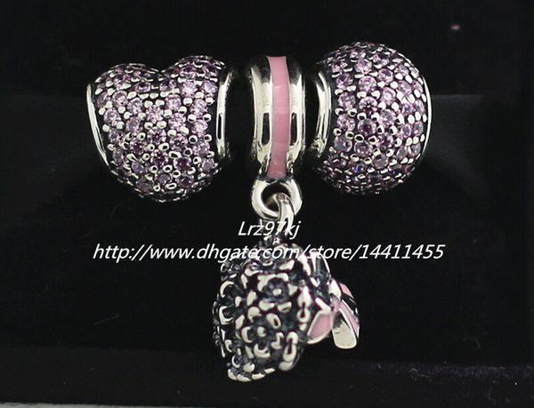 Pulseiras de charme estilo europeu Pandora jóias 2015 outono 925 encantos de prata esterlina e Murano vidro Bead Set - conjuntos de presente NA032