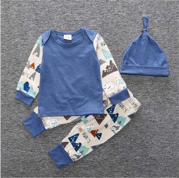 Newborn INS 3pcs Clothing Sets Spring Autumn Baby girl boy long sleeve shirt+trousers+hat Casual outfit Size70-100 cute suit A08