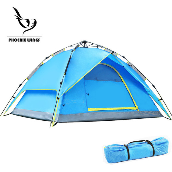 Wholesale- 2017 New Automatic Windproof Waterproof Double Layer Tent 3-4 person Tents Ultralight Outdoor Hiking Camping Tent Picnic Tents