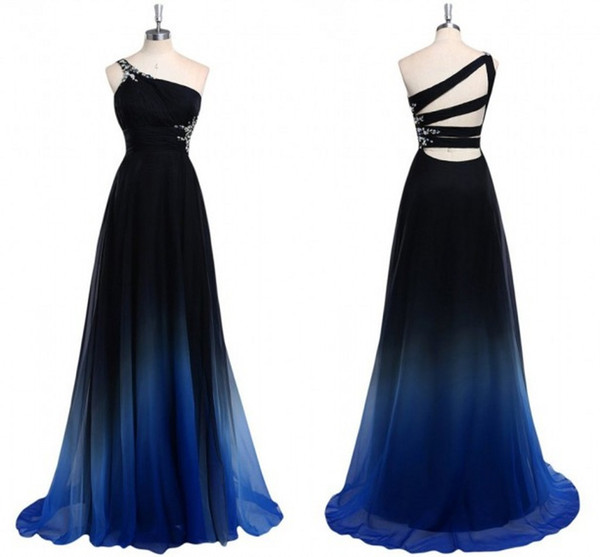 best selling 2020 Ombre Gradiant Color Evening Dresses One shoulder Empire Waist Chiffon Black Royal Blue Designer Long Cheap Prom Formal Pageant Dress