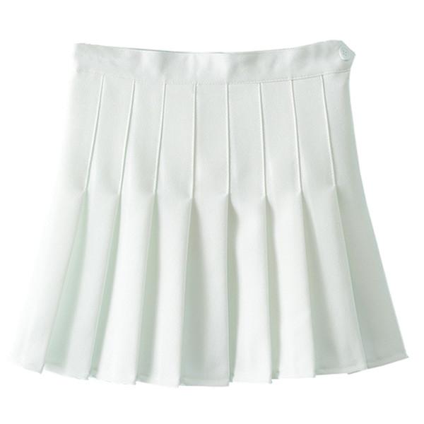 Al por mayor-Faldas Mujer Otoño Mujer Falda plisada Saia faldas 2017 Dulce Mini Faldas Mujer Falda Por Encima Rodilla Poliéster Primavera Invierno