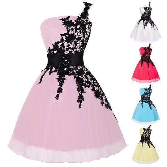 7bf5a934b3af533 Грейс Карин короткое кружево одно плечо платье невесты белый / фуксия /  розовый / желтый /. Нет в наличии