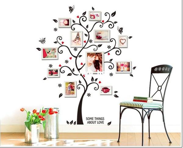 120 * 100 cm Tamanho Grande Imagem Da Família Da Foto Quadro Árvore Citação Parede Arte Adesivos de Decoração Para Casa Decalques Quarto ZYPA-6031