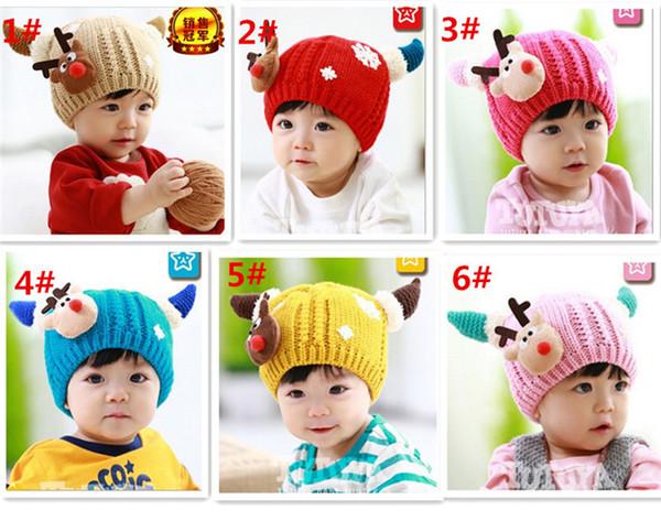 Moda 6 clolors Bebê Deer Beanie Skull Caps Crochet Hat Crianças Dos Desenhos Animados Do Bebê de Lã Chapéu Quente Headwear para o Inverno D474