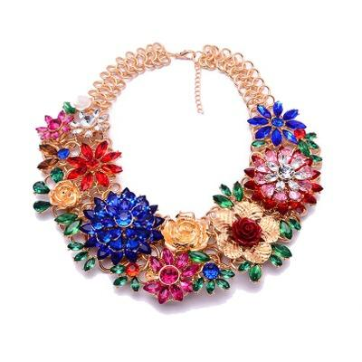 Vananya Fashion Luxury Crystal Flower Clear za Big Brand Party Jewelry Statement Shourouk Chain Choker Collar Necklace
