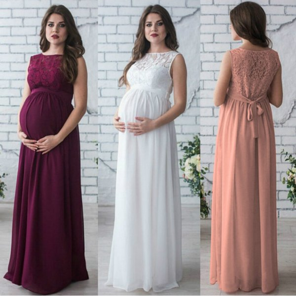 c2bdd1caa39b3 Maternity Clothing Dress Sleeveless Pregnant Woman Party Holiday Dresses  Lady Lace Long Clothes Photo Shooting Dress