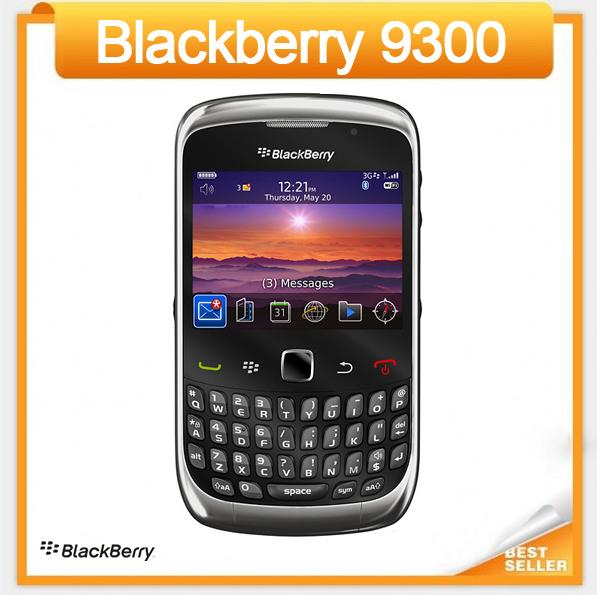 Original 9300 Unlocked Blackberry 9300 Curve Cell Phone Refurbished 3G WIFI GPS QWERTY keyboard