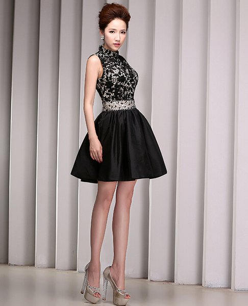 Custom Made Black Beade Lace Homecoming Dress High Neck Backless ...